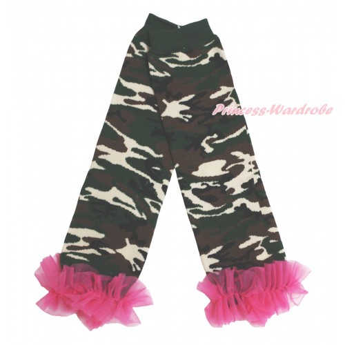 Newborn Baby Camouflage Leg Warmers Leggings & Hot Pink Ruffles LG290