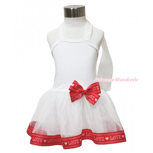 Valentine's Day White & Red LOVE Trimmed ONE-PIECE Halter Dress LP211