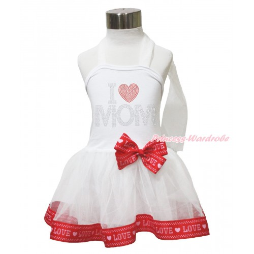 Mother's Day White & Red LOVE Trimmed Halter Dress & Sparkle Rhinestone I Love Mom LP212