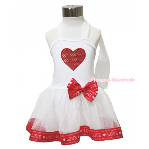 Valentine's Day White & Red LOVE Trimmed Halter Dress & Sparkle Red Heart LP215