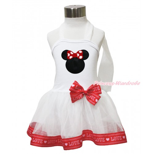White & Red LOVE Trimmed Halter Dress & Red Minnie LP216