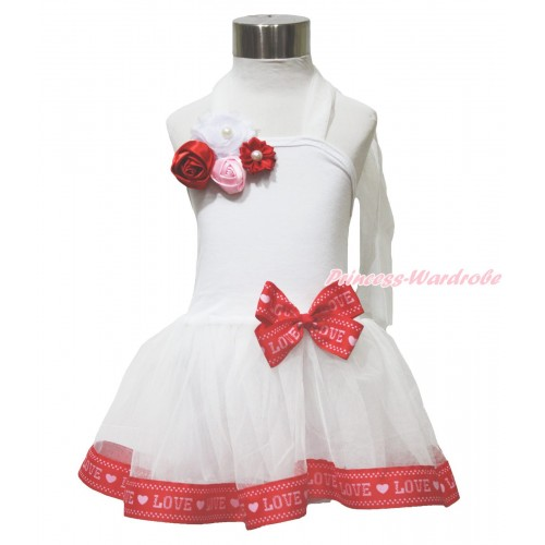 White & Red LOVE Trimmed Halter Dress & Red White Pink Pearl Rosettes Flower LP217