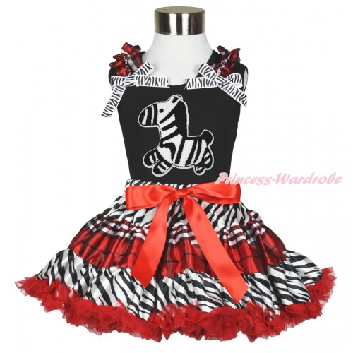 Black Tank Top Red White Checked Ruffles Zebra Bows & Zebra Print & Zebra Red White Checked Pettiskirt MG1719