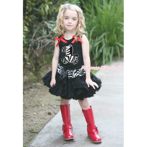 Black Tank Top Black Ruffles Red Bows & Zebra Print & Zebra Waist Black Pettiskirt MG1720