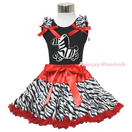 Black Tank Top Zebra Ruffles Red Bows & Zebra Print & Red Zebra Pettiskirt MG1721