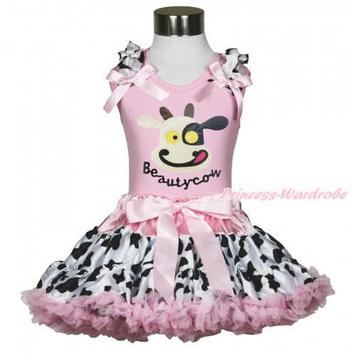 Light Pink Tank Top Milk Cow Ruffles Light Pink Bow & Beauty Cow Painting & Milk Cow Light Pink Pettiskirt MG1728