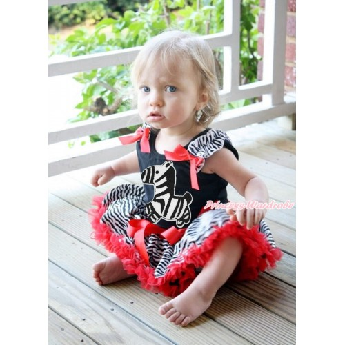 Black Baby Pettitop Zebra Ruffles Red Bows & Zebra Print & Red Zebra Newborn Pettiskirt NG1708