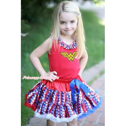 Red Baby Pettitop Red White Blue Striped Star Lacing & Wonder Woman Print & Red White Blue Striped Star Newborn Pettiskirt NG1710