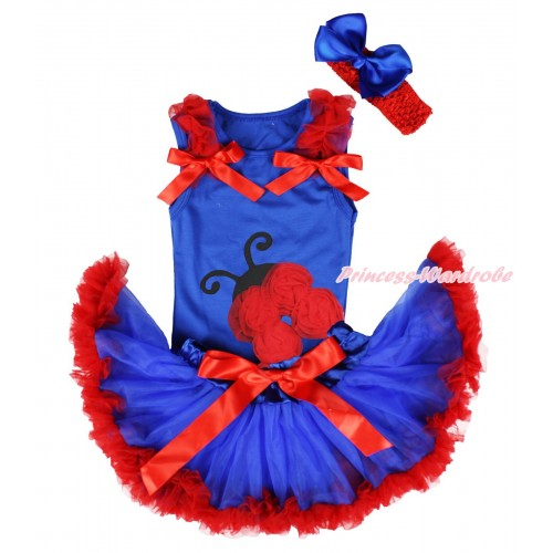 Royal Blue Baby Pettitop Red Ruffles & Bows & Red Rosettes Beetle Print & Royal Blue Red Newborn Pettiskirt NG1713