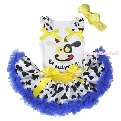 White Baby Pettitop Milk Cow Ruffles Yellow Bows & Beauty Cow Painting & Milk Cow Royal Blue Newborn Pettiskirt NG1715