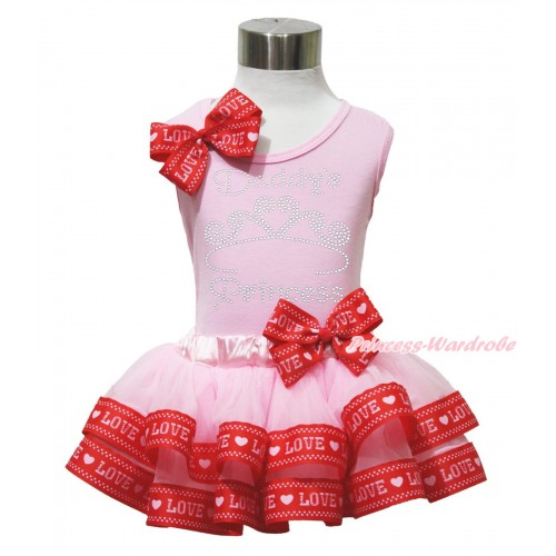 Valentine's Day Light Pink Baby Pettitop Red LOVE Bow & Sparkle Rhinestone Daddy's Princess Print & Light Pink Red LOVE Trimmed Baby Pettiskirt NG1744