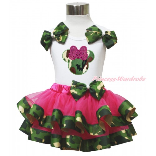 White Baby Pettitop Camouflage Bows & Camouflage Minnie Print & Hot Pink Camouflage Trimmed Baby Pettiskirt NG1753