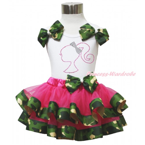 White Baby Pettitop Camouflage Bows & Sparkle Rhinestone Barbie Princess Print & Hot Pink Camouflage Trimmed Baby Pettiskirt NG1754