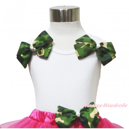 White Tank Top & Camouflage Bows TB1161