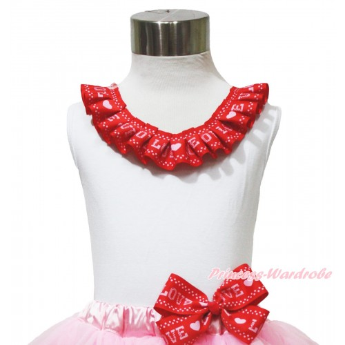 Valentine's Day White Tank Top Red LOVE Lacing TB1162
