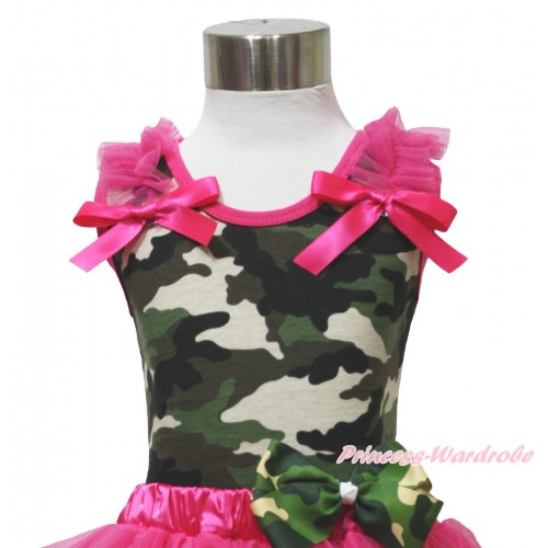 Camouflage Tank Top Hot Pink Ruffles & Bow TB1164