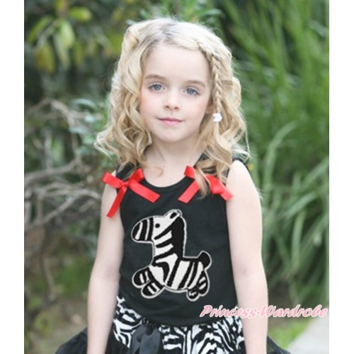 Black Tank Top & Ruffle Red Bow & Zebra Print TB1166