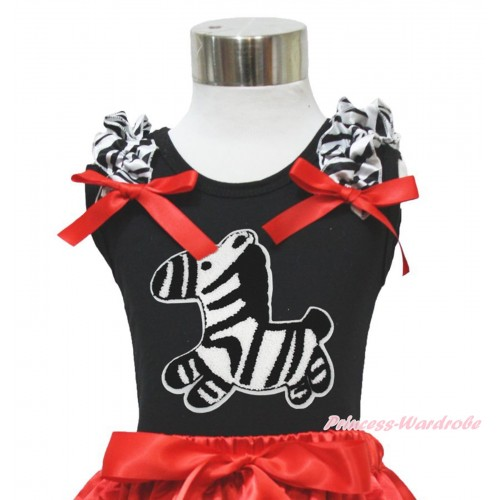 Black Tank Top Zebra Ruffle Red Bow & Zebra Print TB1167