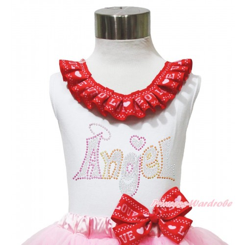White Tank Top Red LOVE Lacing & Sparkle Rhinestone Angel TB1168