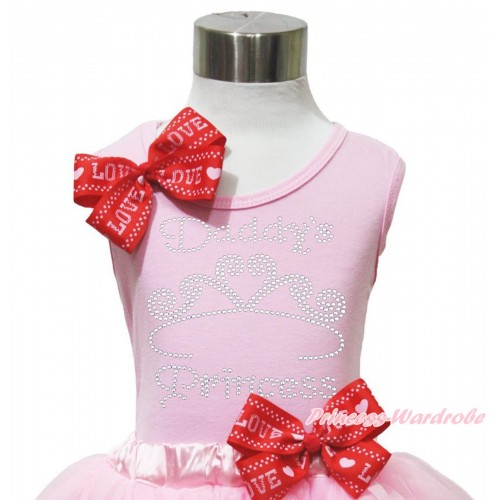 Valentine's Day Light Pink Tank Top Red LOVE Bow & Sparkle Rhinestone Daddy's Princess Print TB1171