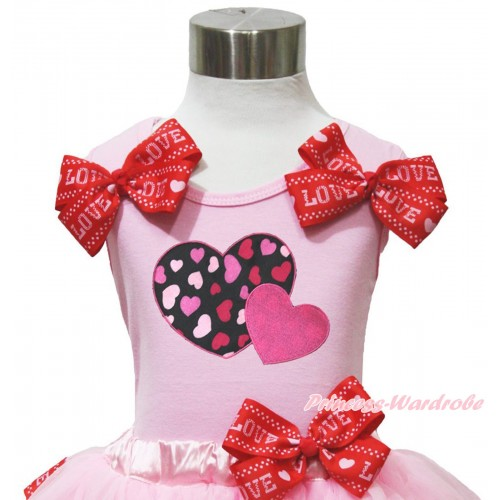 Valentine's Day Light Pink Tank Top Red LOVE Bows & Hot Pink Sweet Twin Heart Print TB1173