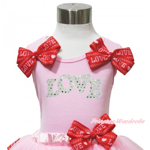 Valentine's Day Light Pink Tank Top Red LOVE Bows & Sparkle White LOVE Print TB1174