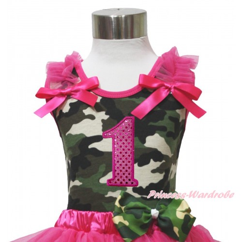 Camouflage Tank Top Hot Pink Ruffle & Bow & 1st Sparkle Hot Pink Birthday Number Print TB1175