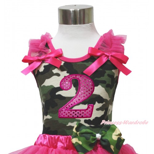Camouflage Tank Top Hot Pink Ruffle & Bow & 2nd Sparkle Hot Pink Birthday Number Print TB1176