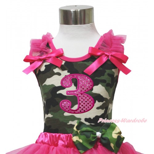 Camouflage Tank Top Hot Pink Ruffle & Bow & 3rd Sparkle Hot Pink Birthday Number Print TB1177