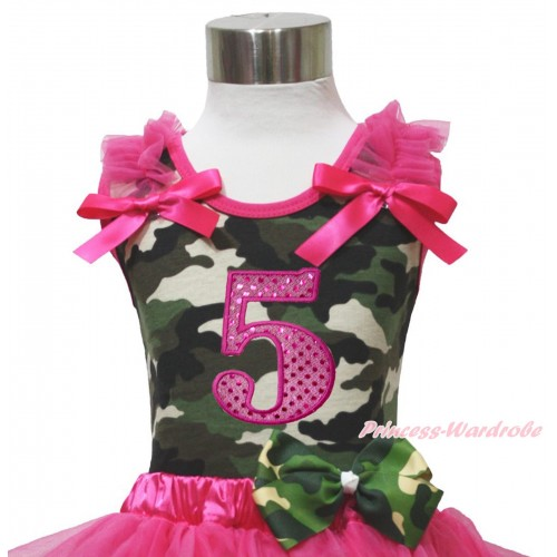 Camouflage Tank Top Hot Pink Ruffle & Bow & 5th Sparkle Hot Pink Birthday Number Print TB1179