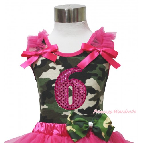 Camouflage Tank Top Hot Pink Ruffle & Bow & 6th Sparkle Hot Pink Birthday Number Print TB1180