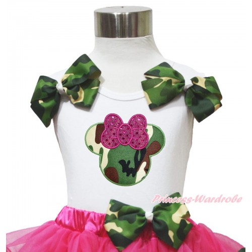 White Tank Top Camouflage Bows & Camouflage Minnie Print TB1183