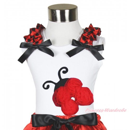 White Tank Top Red Black Dots Ruffles Black Bow & Red Rosettes Beetle Print TB1184
