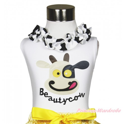 White Tank Top Milk Cow Lacing & Beauty Cow Painting TB1185