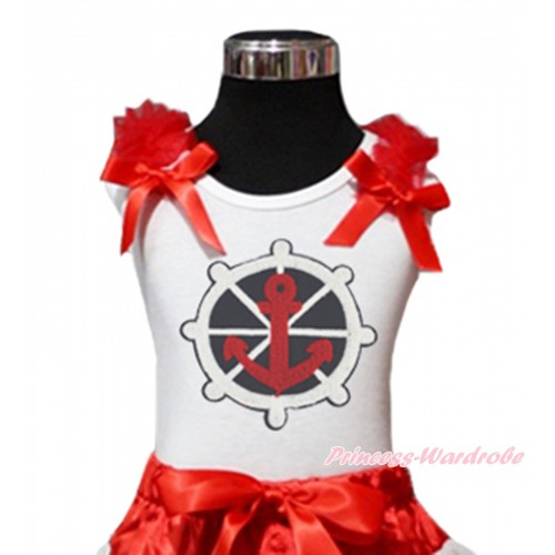 White Tank Top Red Ruffles & Bow & Red White Blue Anchor Print TB1186