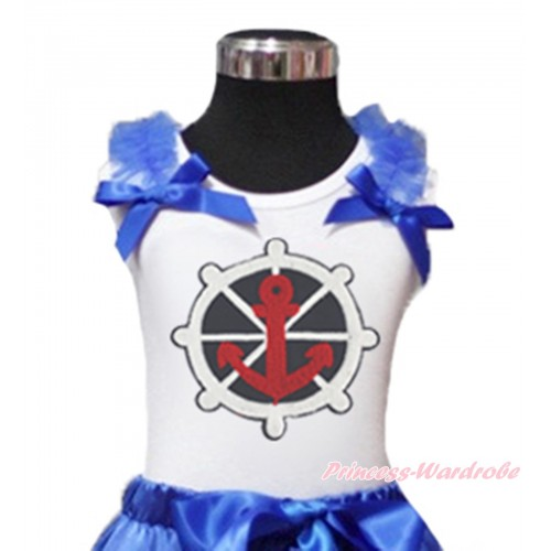 White Tank Top Royal Blue Ruffles & Bow & Red White Blue Anchor Print TB1187
