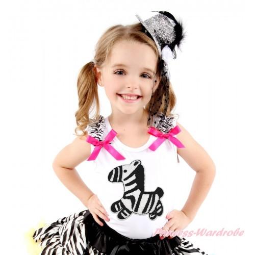 White Tank Top Zebra Ruffles Hot Pink Bow & Zebra Print TB1188
