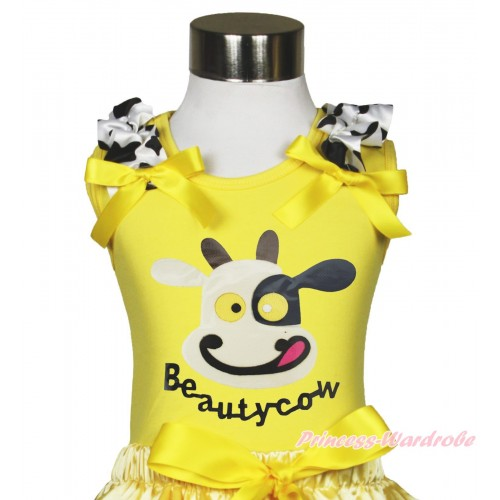 Yellow Tank Top Milk Cow Ruffle Yellow Bow & Beauty Cow Painting TB1189