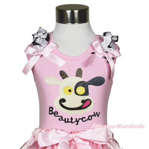 Light Pink Tank Top Milk Cow Ruffles Light Pink Bow & Beauty Cow Painting TB1190