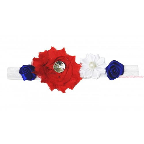 4th July White Headband & Red White Blue Vintage Garden Pearl Rosettes Flower H1020