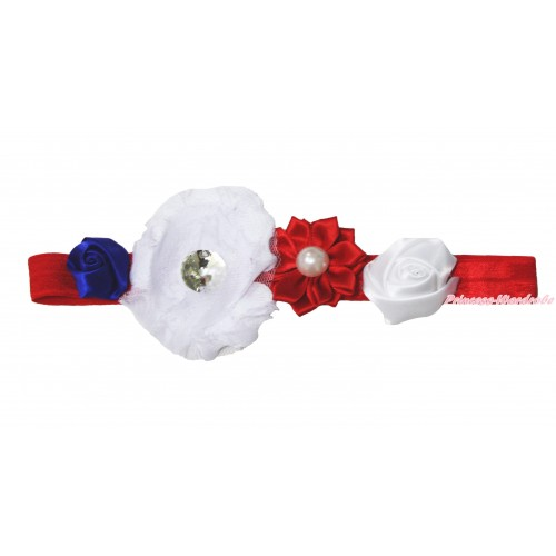 4th July Red Headband & Red White Blue Vintage Garden Pearl Rosettes Flower H1021