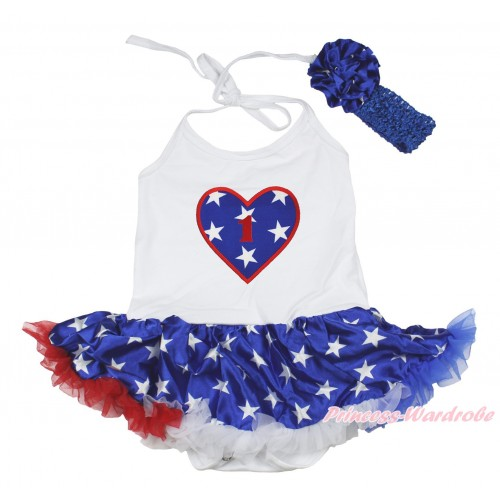 American's Birthday White Baby Halter Jumpsuit Patriotic American Star Pettiskirt & 1st Birthday Number American Star Heart Print JS4478