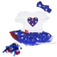 White Baby Bodysuit Patriotic American Star Pettiskirt & 1st Birthday Number American Star Heart & Royal Blue Headband Star Bow & Red White Blue Striped Star Shoes JS4488