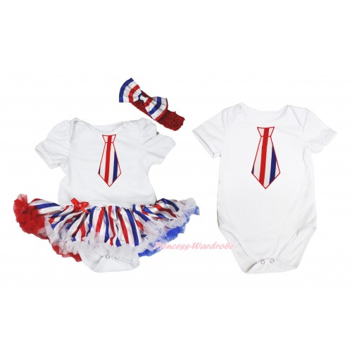 Red White Blue Striped Tie Print White Bodysuit Red White Blue Striped Pettiskirt & Headband Match White Jumpsuit JS4489
