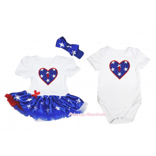 1st Birthday Number American Star Heart Print White Bodysuit Patriotic American Star Pettiskirt & Headband Match White Jumpsuit JS4490