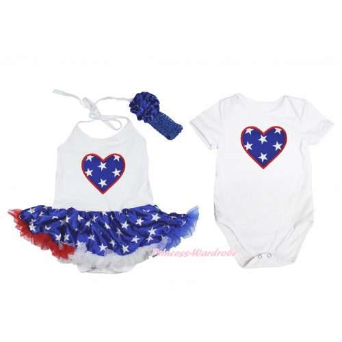 American Star Heart Print White Halter Bodysuit Patriotic American Star Pettiskirt & Headband Match White Jumpsuit JS4491