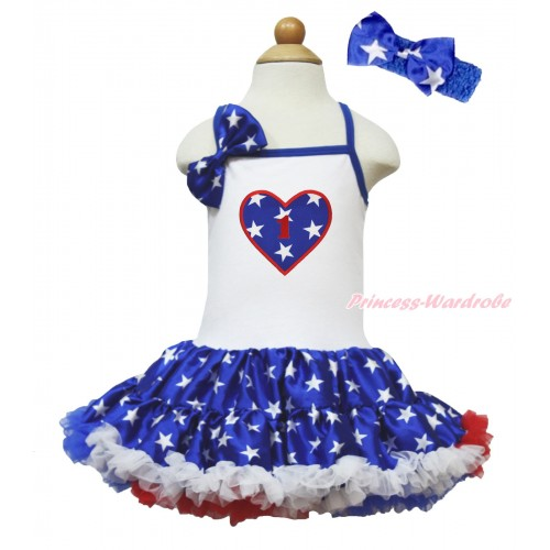 American's Birthday White Halter Patriotic American Star ONE-PIECE Dress & Star Satin Bow & 1st Birthday Number American Star Heart LP205