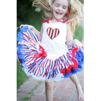 American's Birthday White Tank Top Patriotic American Star Ruffles Red Bows & Red White Blue Striped Heart Print & Red White Blue Striped Pettiskirt MG1619