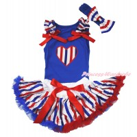 American's Birthday Royal Blue Baby Pettitop Red White Blue Striped Ruffles Red Bows & Red White Blue Striped Heart Print & Red White Blue Striped Newborn Pettiskirt NG1688