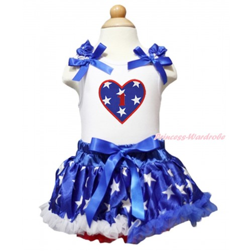 American's Birthday White Baby Pettitop Patriotic American Star Ruffles Royal Blue Bows & 1st Birthday Number American Star Heart & Patriotic American Star Newborn Pettiskirt NN305